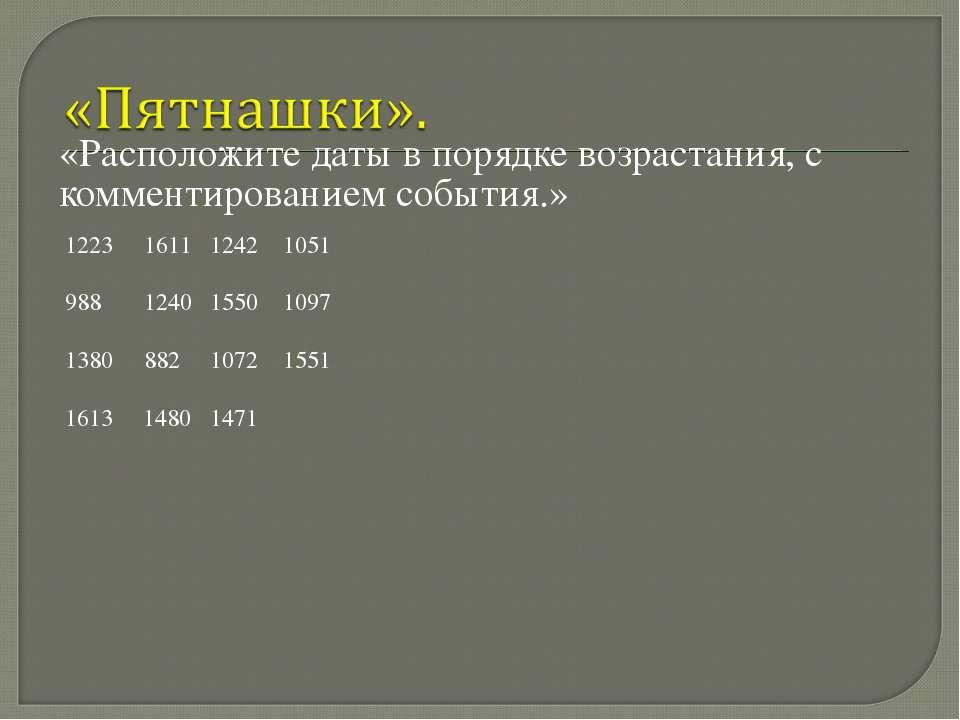 «Расположите даты в порядке возрастания, с комментированием события.» 1611 12...