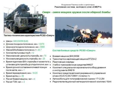 Вооружение Ракетных войск и артиллерии Реактивная система залпового огня «СМЕ...