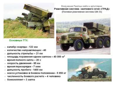 Вооружение Ракетных войск и артиллерии Реактивная система залпового огня «ГРА...