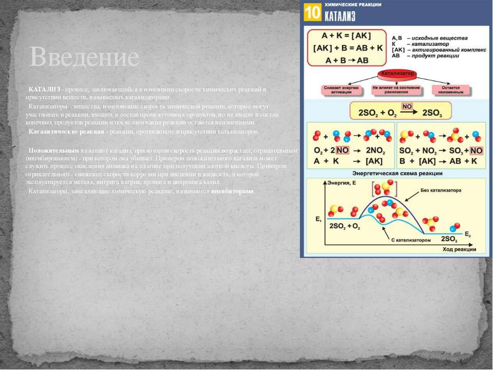 КАТАЛИЗ - процесс, заключающийся в изменении скорости химических реакций в пр...