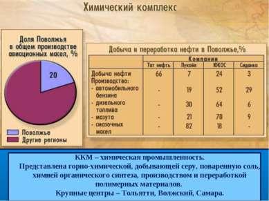 ККМ – химическая промышленность. Представлена горно-химической, добывающей се...