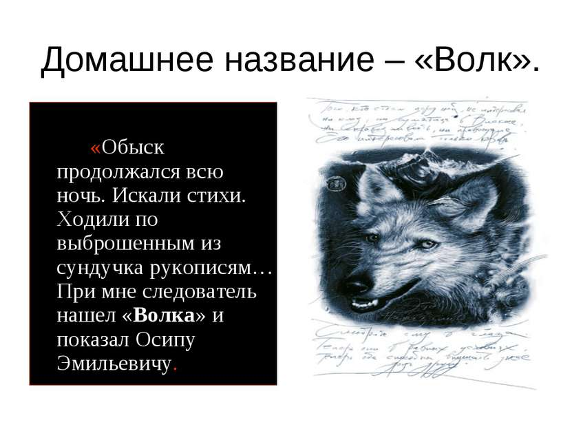 Домашнее название – «Волк». «Обыск продолжался всю ночь. Искали стихи. Ходили...