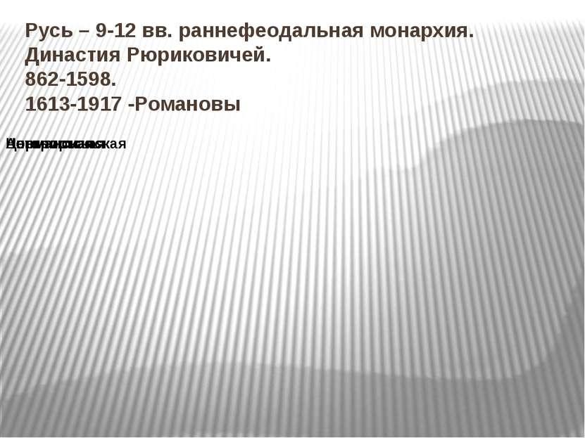 Русь – 9-12 вв. раннефеодальная монархия. Династия Рюриковичей. 862-1598. 161...