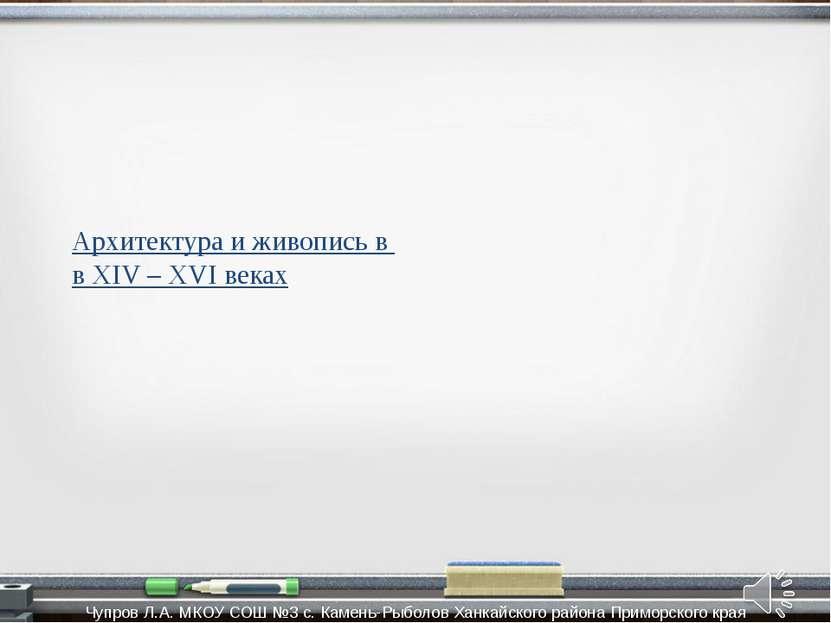 Архитектура и живопись в в XIV – XVI веках Чупров Л.А. МКОУ СОШ №3 с. Камень-...