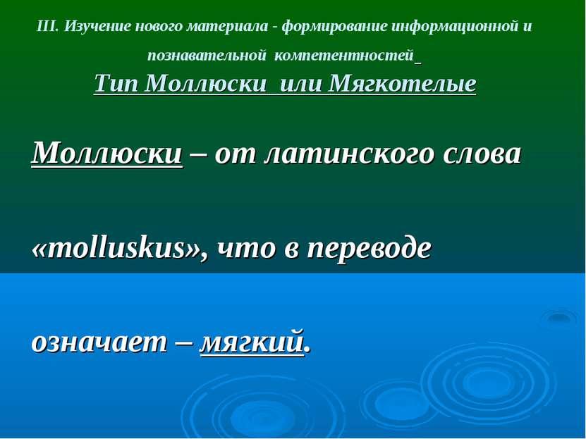 III. Изучение нового материала - формирование информационной и познавательной...