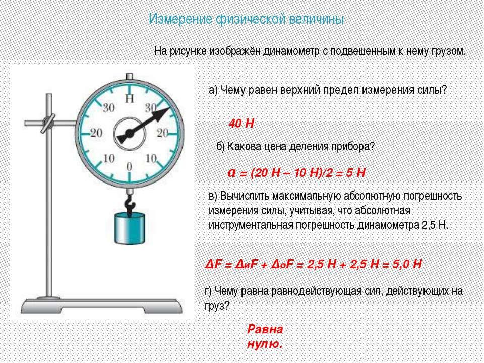 Измерение физической величины а) Чему равен верхний предел измерения силы? На...