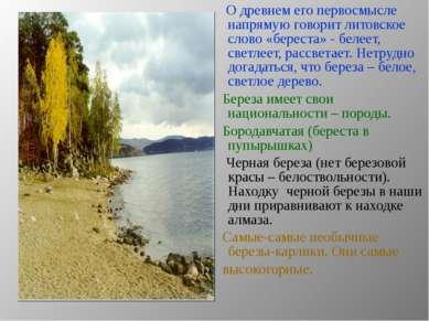 О древнем его первосмысле напрямую говорит литовское слово «береста» - белеет...