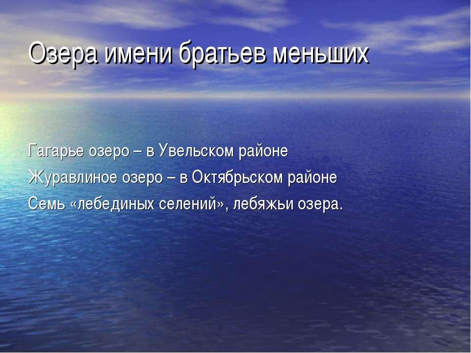 Озера имени братьев меньших Гагарье озеро – в Увельском районе Журавлиное озе...