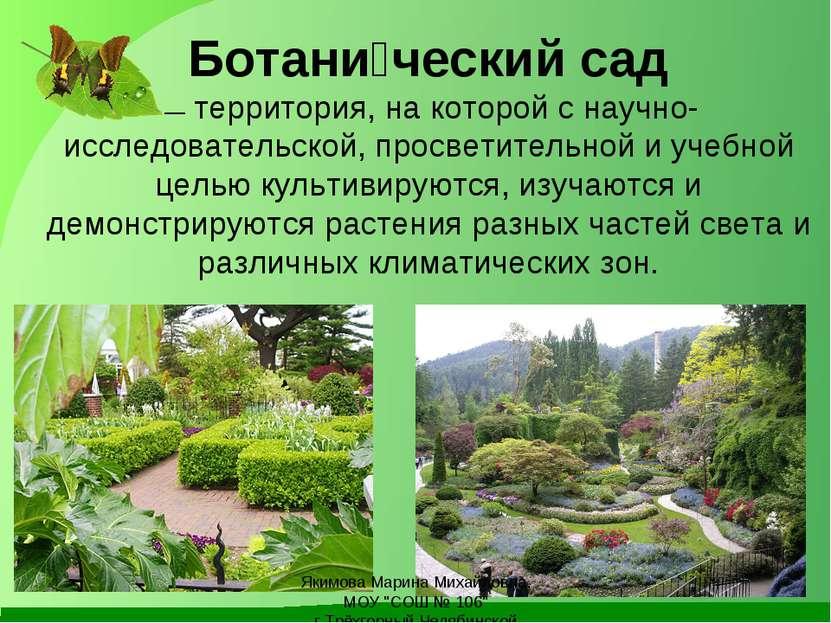 Ботани ческий сад —территория, на которой с научно-исследовательской, просв...
