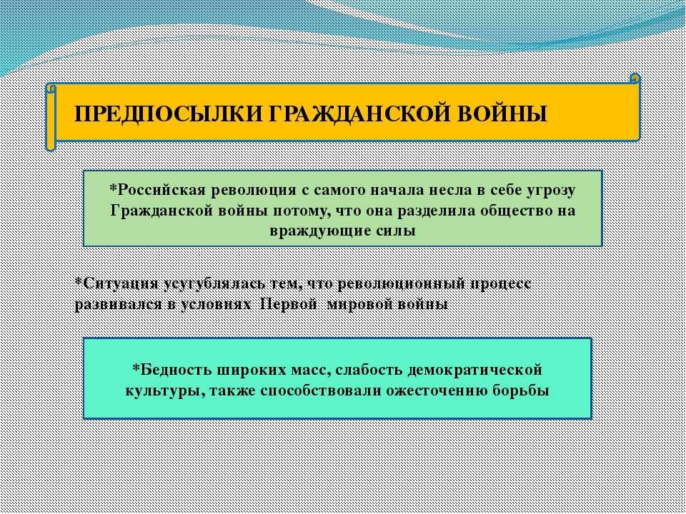 ПРЕДПОСЫЛКИ ГРАЖДАНСКОЙ ВОЙНЫ *Российская революция с самого начала несла в с...