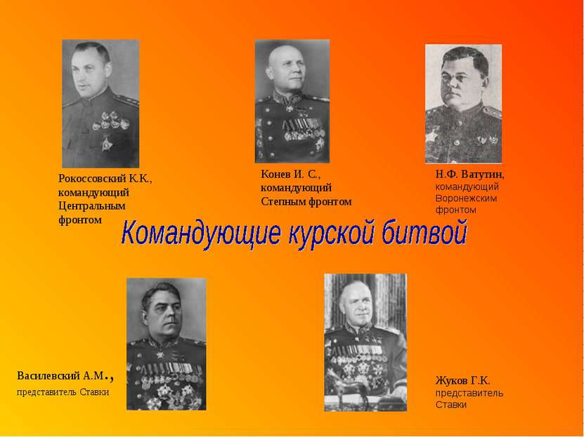 Василевский А.М., представитель Ставки Рокоссовский К.К., командующий Централ...