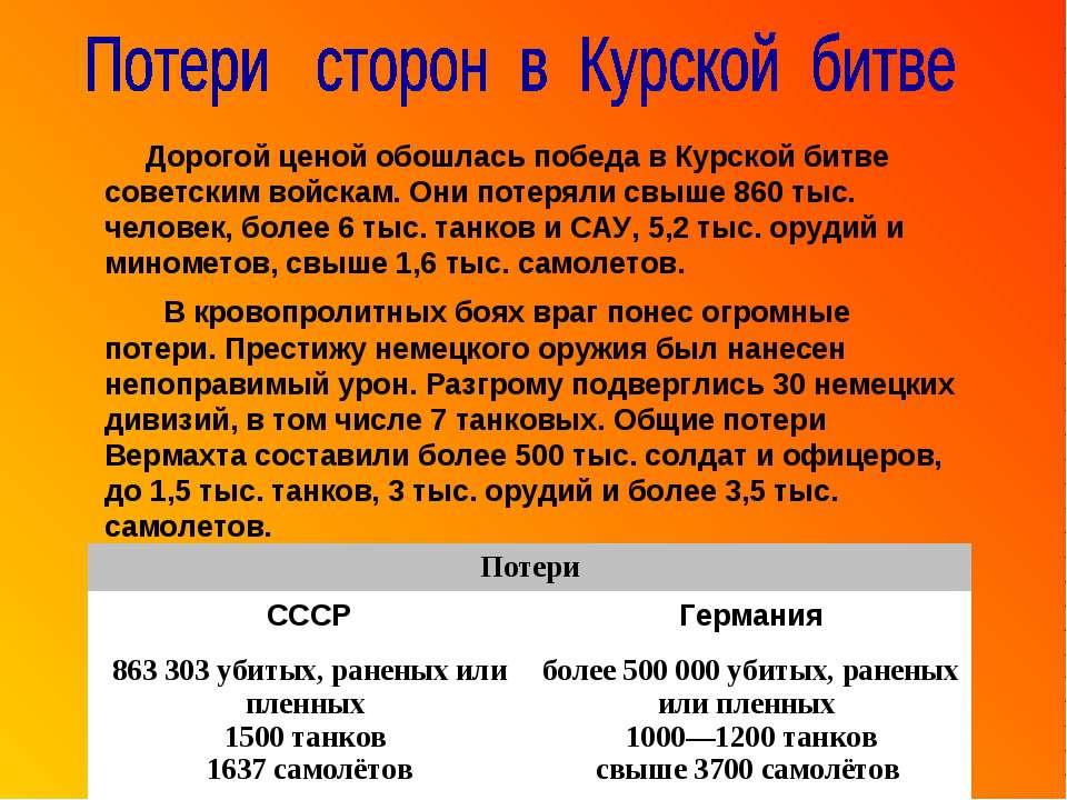 Дорогой ценой обошлась победа в Курской битве советским войскам. Они потеряли...