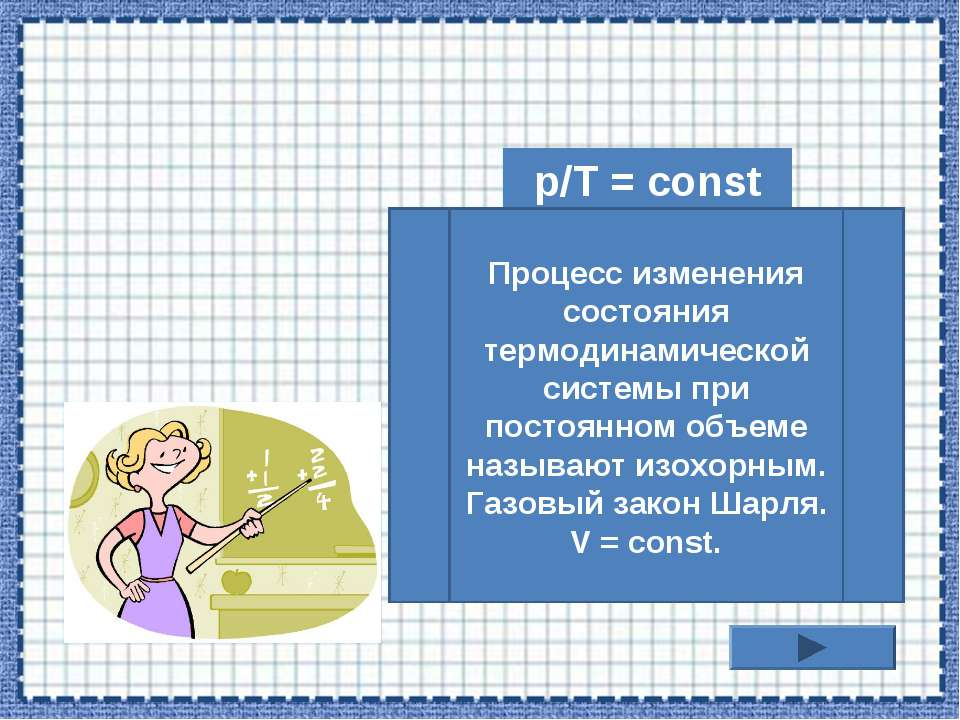p/T = const Процесс изменения состояния термодинамической системы при постоян...
