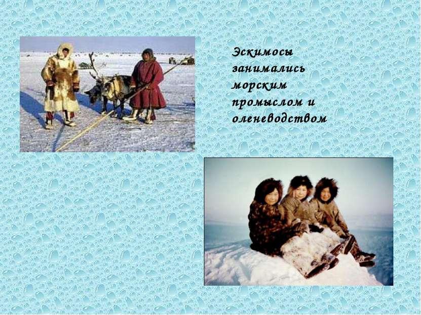 Эскимосы занимались морским промыслом и оленеводством