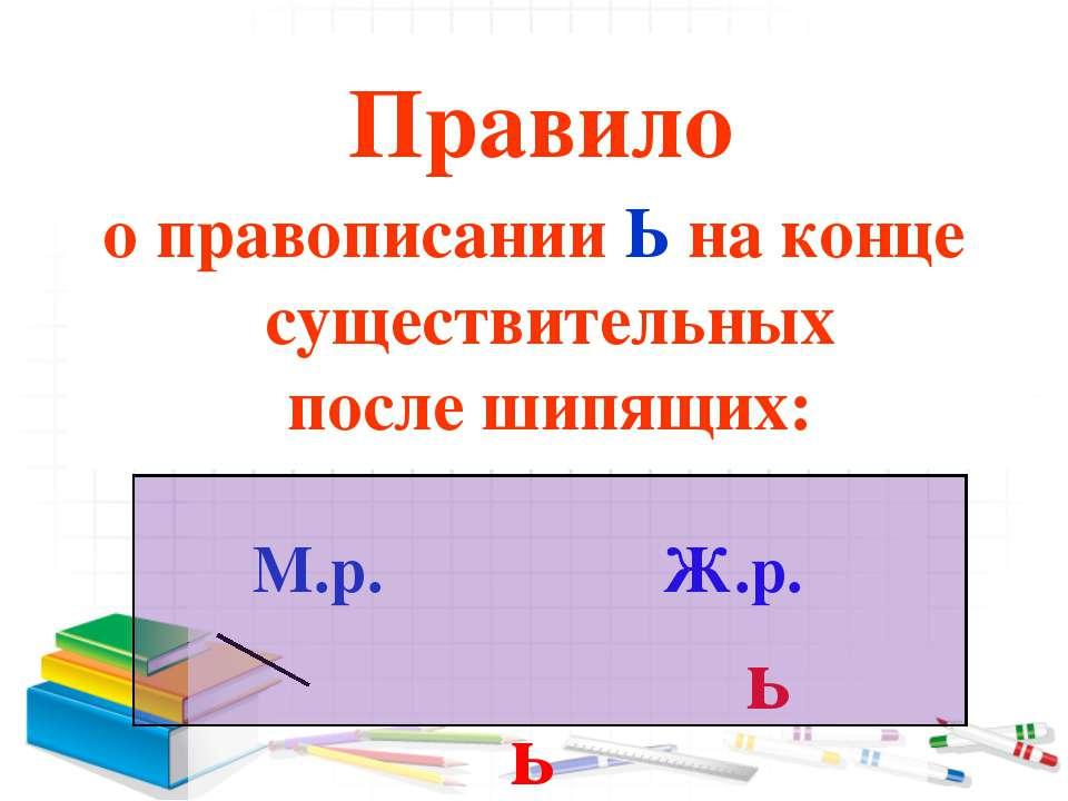 Правило о правописании Ь на конце существительных после шипящих: М.р. Ж.р. ь ь