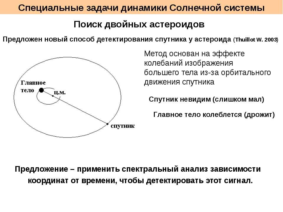 Специальные задачи динамики Солнечной системы Поиск двойных астероидов Предло...