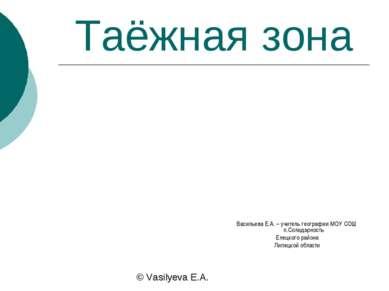 Таёжная зона Васильева Е.А. – учитель географии МОУ СОШ п.Солидарность Елецко...