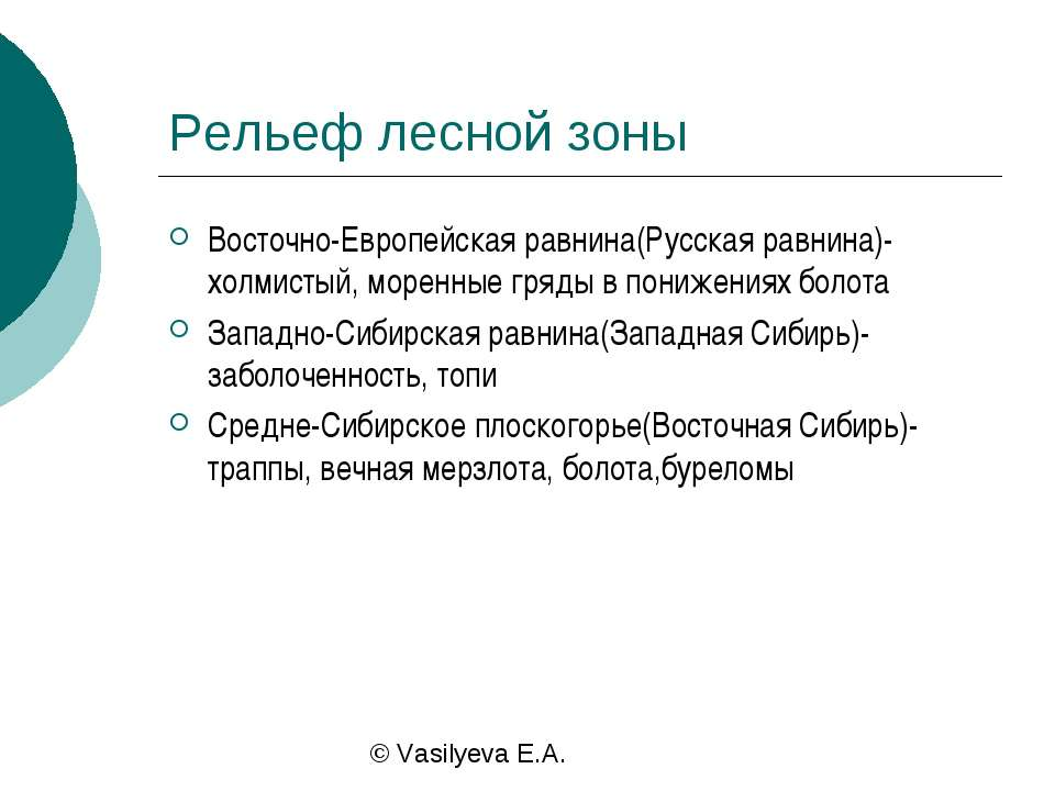 Рельеф лесной зоны Восточно-Европейская равнина(Русская равнина)-холмистый, м...
