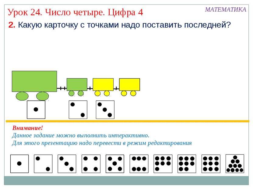 Урок 24. Число четыре. Цифра 4 2. Какую карточку с точками надо поставить пос...