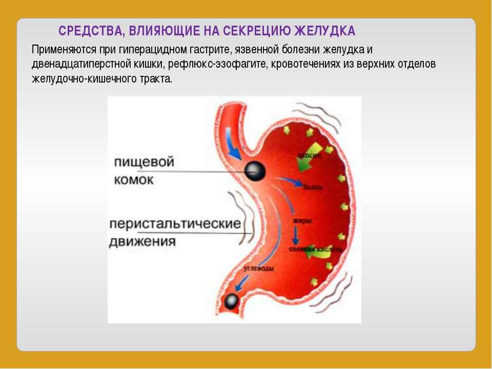 СРЕДСТВА, ВЛИЯЮЩИЕ НА СЕКРЕЦИЮ ЖЕЛУДКА Применяются при гиперацидном гастрите,...
