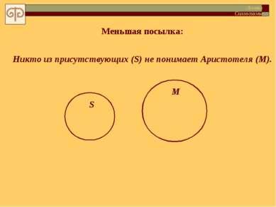 Меньшая посылка: Никто из присутствующих (S) не понимает Аристотеля (M). S М ...
