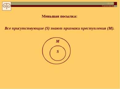 Меньшая посылка: Все присутствующие (S) знают признаки преступления (M). S М ...