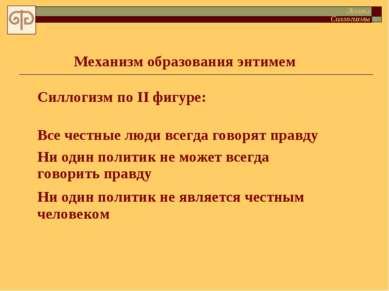 Силлогизм по II фигуре: Логика Силлогизмы Механизм образования энтимем Все че...