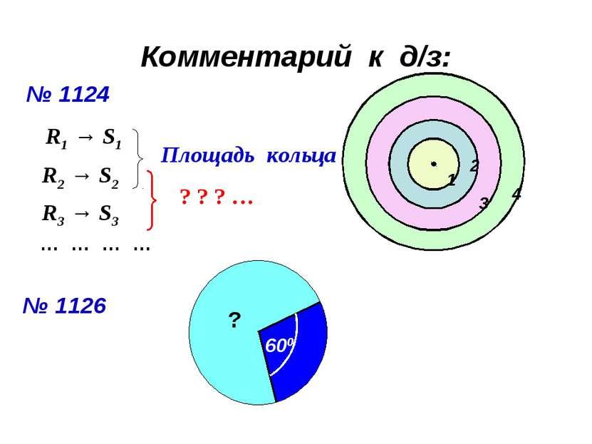 Комментарий к д/з: № 1124 1 2 3 4 R1 → S1 R2 → S2 Площадь кольца R3 → S3 ? ? ...