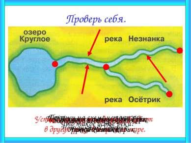 Проверь себя. Что такое исток реки? Исток реки – это её начало. Покажи на схе...