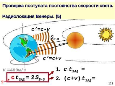 Проверка постулата постоянства скорости света. Радиолокация Венеры. (5) c'=c+...