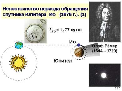 Непостоянство периода обращения спутника Юпитера Ио (1676 г.). (1) Олаф Рёмер...