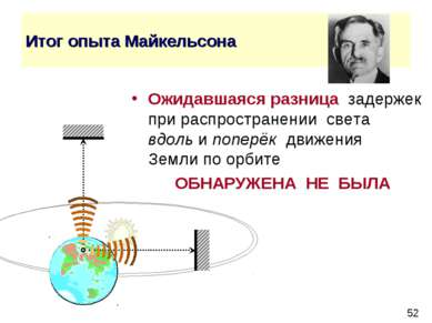 Итог опыта Майкельсона Ожидавшаяся разница задержек при распространении света...