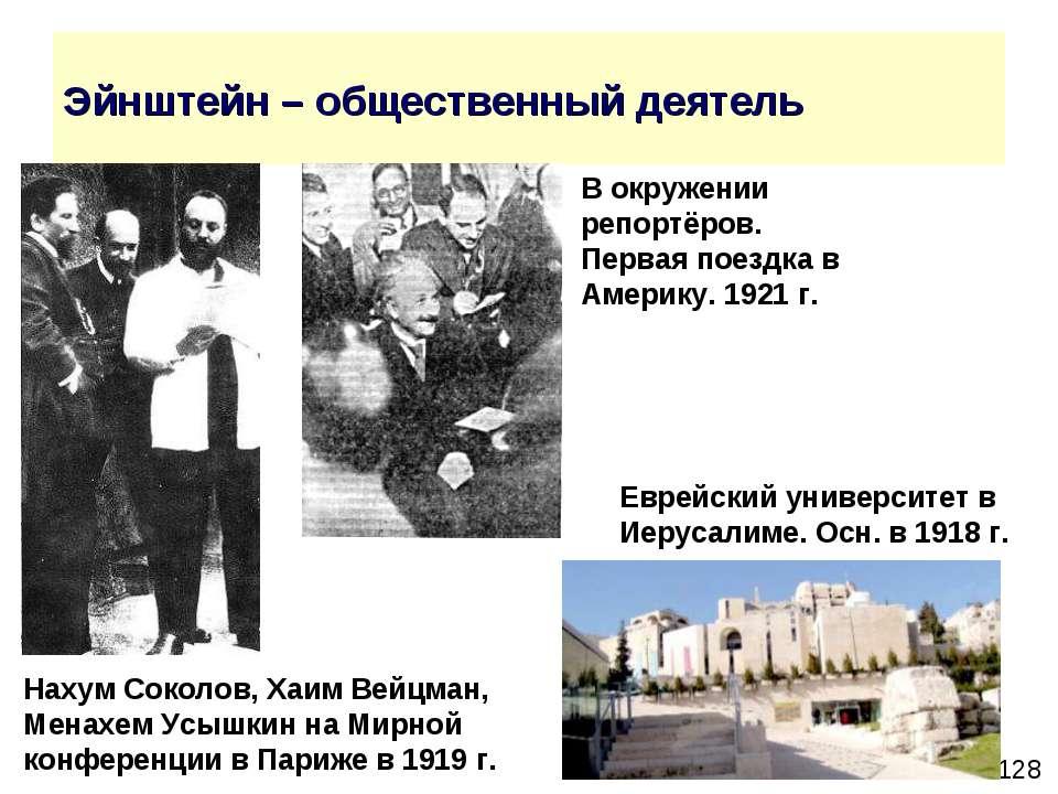 Эйнштейн – общественный деятель Еврейский университет в Иерусалиме. Осн. в 19...