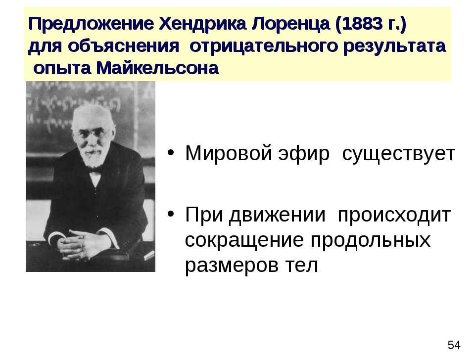 Предложение Хендрика Лоренца (1883 г.) для объяснения отрицательного результа...