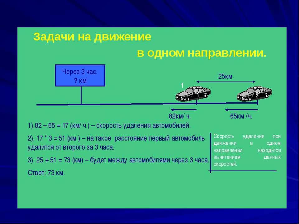 Задачи на движение в одном направлении. 65км /ч. 82км/ ч. 25км Через 3 час. ?...