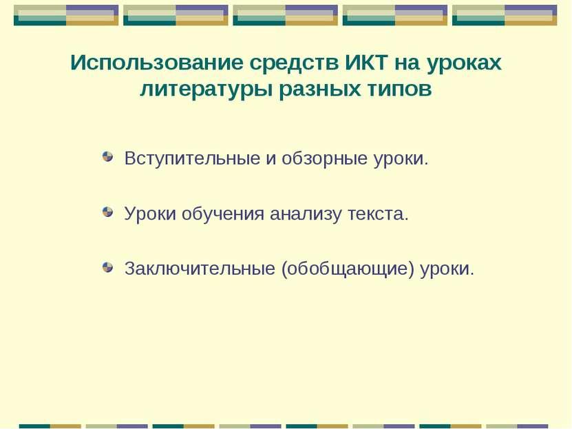 Использование средств ИКТ на уроках литературы разных типов Вступительные и о...