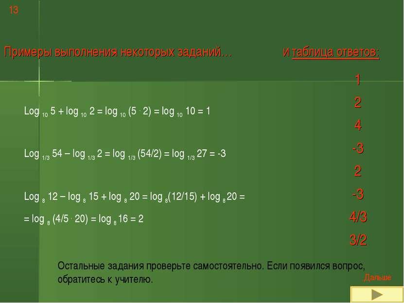 13 Примеры выполнения некоторых заданий… Log 10 5 + log 10 2 = log 10 (5 . 2)...