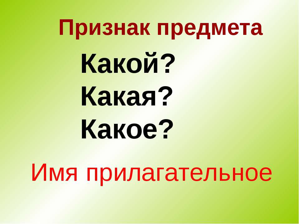 Признак предмета Какой? Какая? Какое? Имя прилагательное