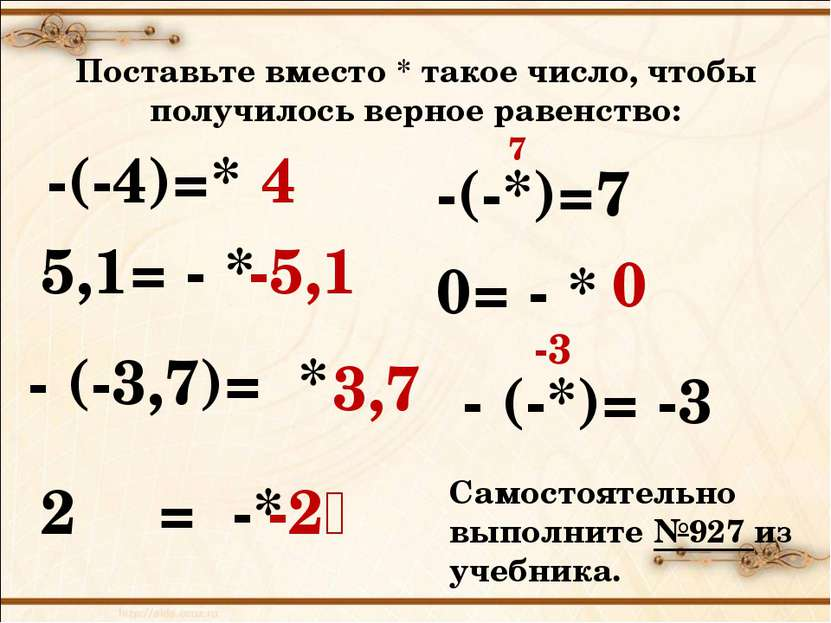 Поставьте вместо * такое число, чтобы получилось верное равенство: -(-4)=* 4 ...