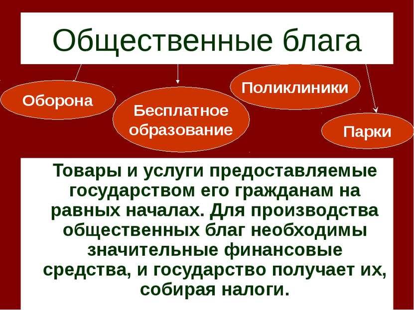 Общественные блага Товары и услуги предоставляемые государством его гражданам...