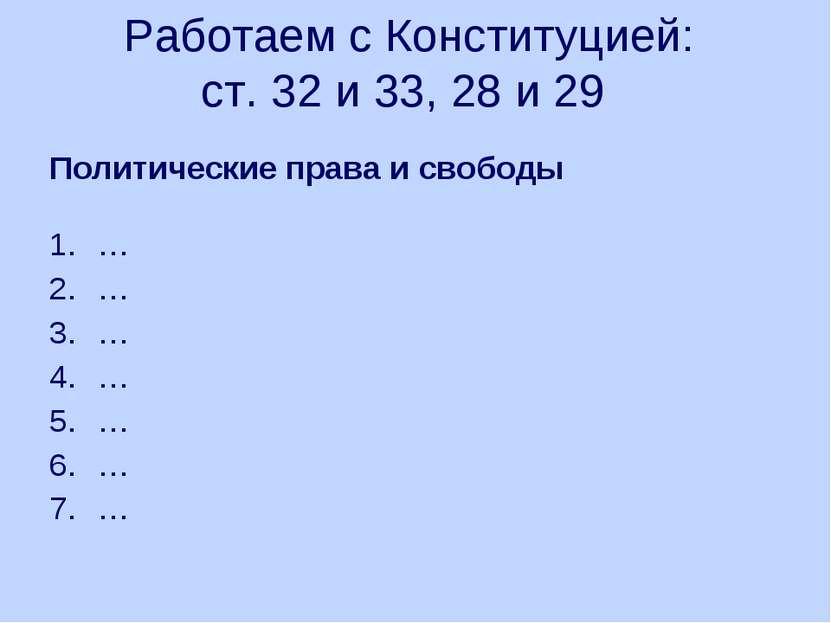Работаем с Конституцией: ст. 32 и 33, 28 и 29 Политические права и свободы … ...