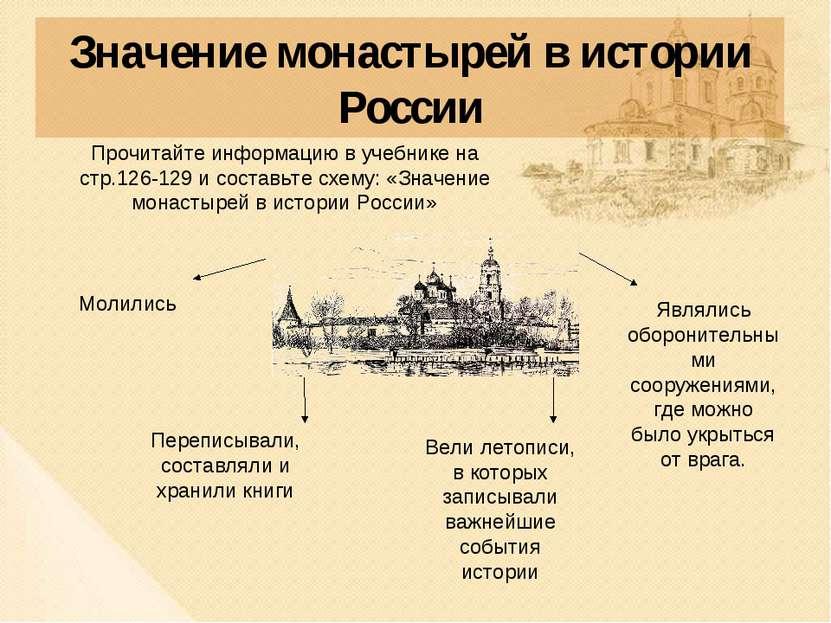 Значение монастырей в истории России Прочитайте информацию в учебнике на стр....