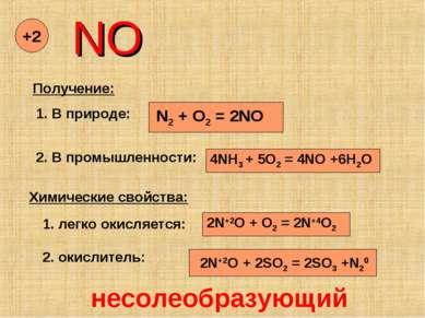 NO +2 Получение: 1. В природе: N2 + O2 = 2NO 2. В промышленности: 4NH3 + 5O2 ...