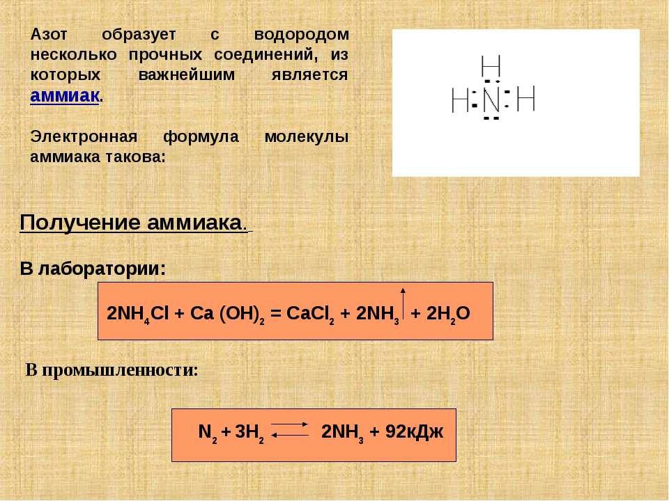 Азот образует с водородом несколько прочных соединений, из которых важнейшим ...