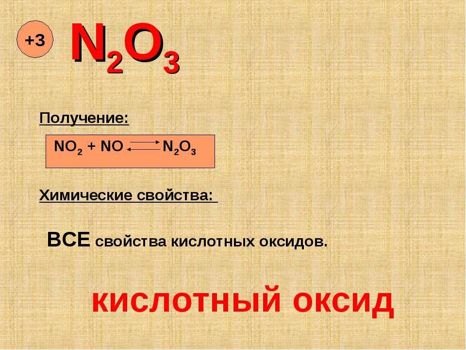 N2O3 +3 Химические свойства: NO2 + NO N2O3 Получение: ВСЕ свойства кислотных ...