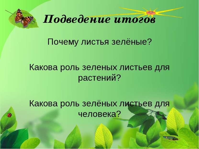 Подведение итогов Почему листья зелёные? Какова роль зеленых листьев для раст...