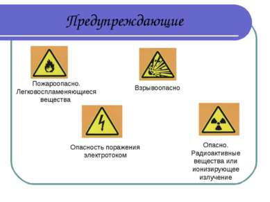Предупреждающие Взрывоопасно Опасно. Радиоактивные вещества или ионизирующее ...