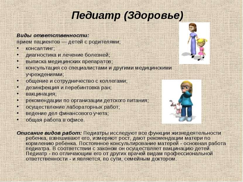 Педиатр (Здоровье) Виды ответственности: прием пациентов — детей с родителями...