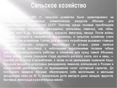 Сельское хозяйство До войны 1992—1993 гг. сельское хозяйство было ориентирова...