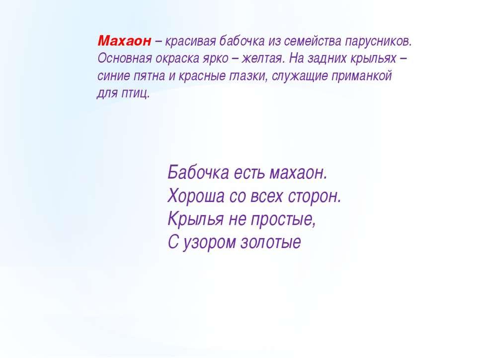 Махаон – красивая бабочка из семейства парусников. Основная окраска ярко – же...